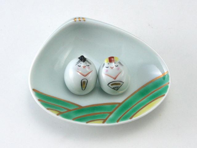 有田焼 青花 豆ひな人形2人揃(緑色、貝型台皿付)