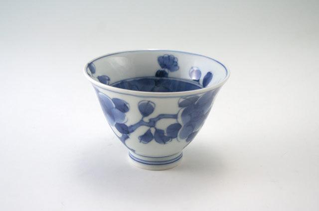 有田焼 青花 椿文百合型煎茶
