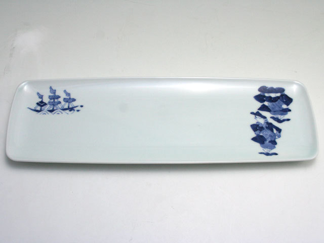 有田焼 青花 帆船と異人長角皿