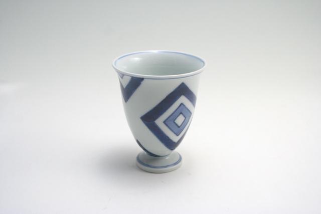 有田焼 青花 江戸紋ワインカップ