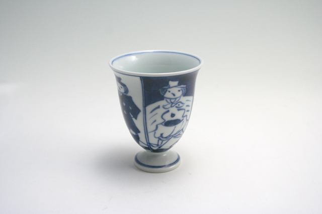 有田焼 青花 四方異人ワインカップ