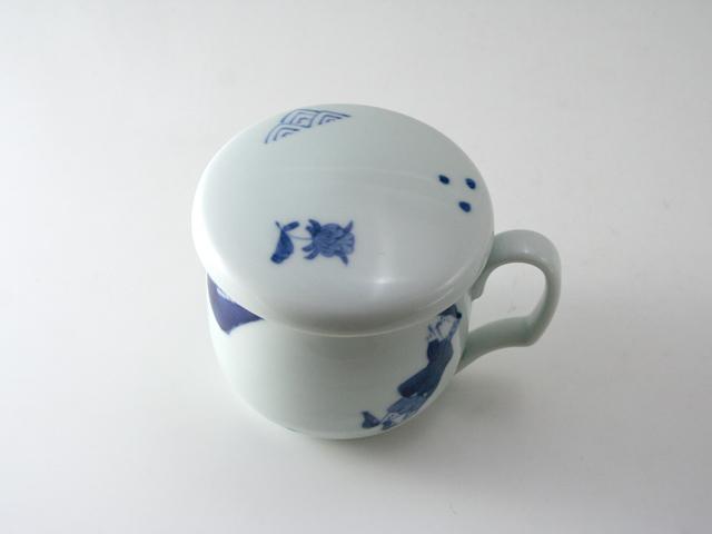 有田焼 青花 異人づくしフタ付きマグカップ