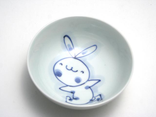 有田焼 青花 うさぎ4寸ボール(さんぽ)