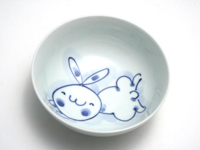 有田焼 青花 うさぎ4寸ボール(とびはね)