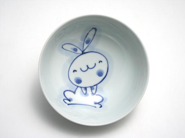 有田焼 青花 うさぎ4寸ボール(ほっこり)