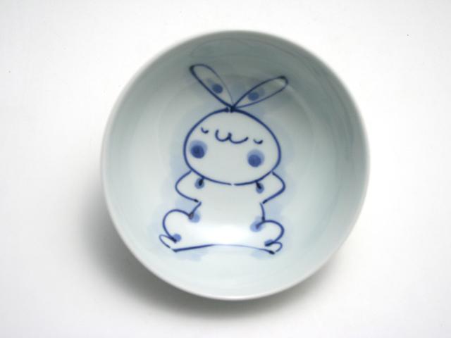 有田焼 青花 うさぎ4寸ボール(いねむり)