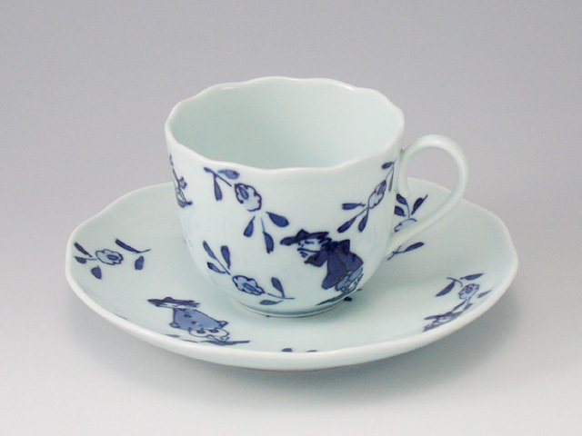 草花異人ノーブルコーヒー碗皿 しん窯 青花