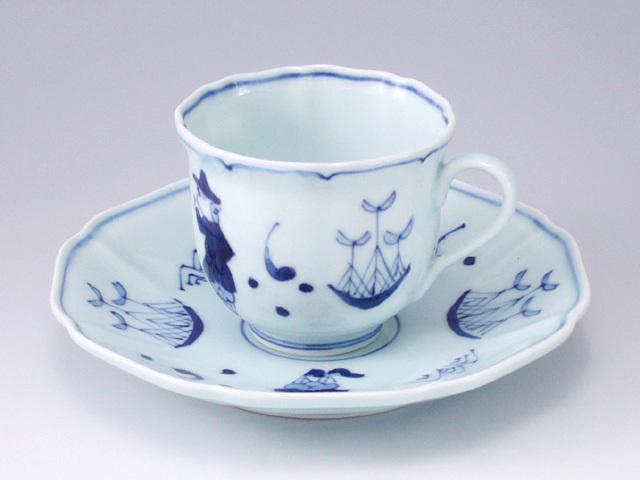 帆船と異人木甲コーヒー碗皿 しん窯 青花