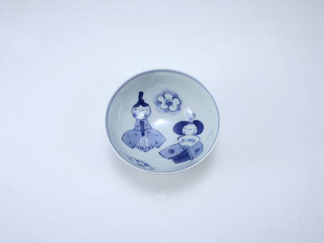 ひな人形3.2寸丸飯碗 しん窯 青花