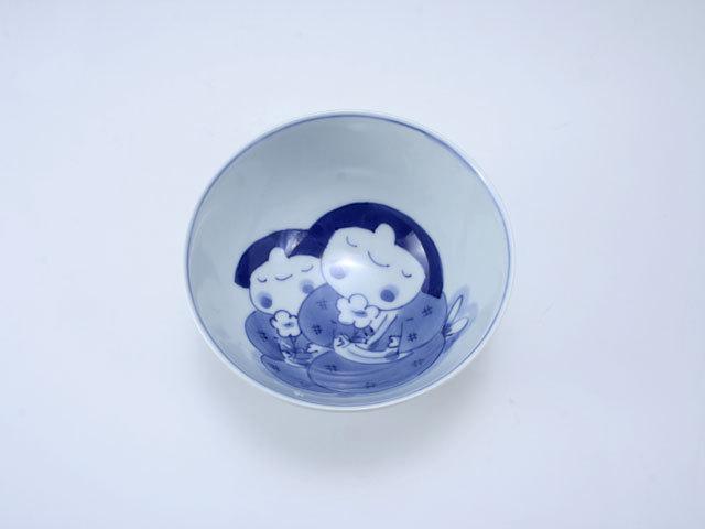 ふたりっこ3.8寸丸飯碗 しん窯 青花