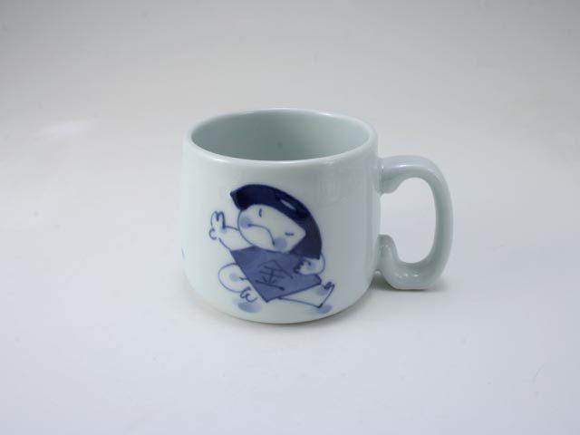 金太郎とクマ子供用マグカップ しん窯 青花