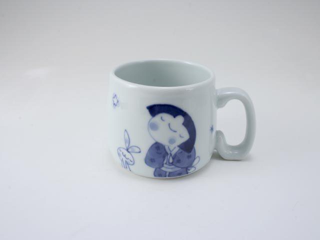 流れ星子供用マグカップ しん窯 青花