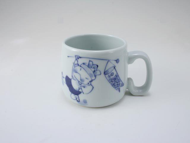 こいのぼりと金太郎子供用マグカップ しん窯 青花