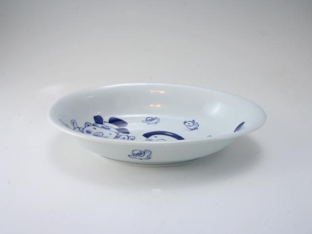 さんぽ子供用カレー皿 しん窯 青花