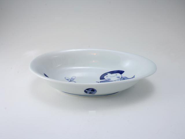 手まりうた子供用カレー皿 しん窯 青花