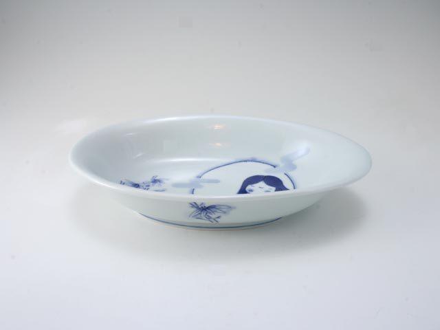 かぐや姫子供用カレー皿 しん窯 青花