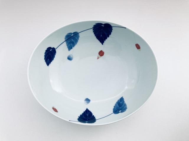 アブチロン 楕円盛鉢 しん窯青花匠