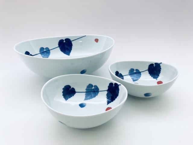 アブチロン楕円組鉢(鉢1個&取鉢2個) しん窯青花匠 数量限定