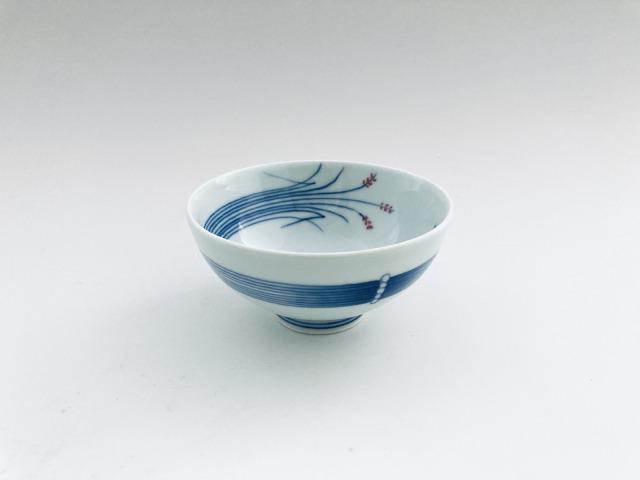 (朱)稲穂3.2寸丸飯碗 しん窯青花匠