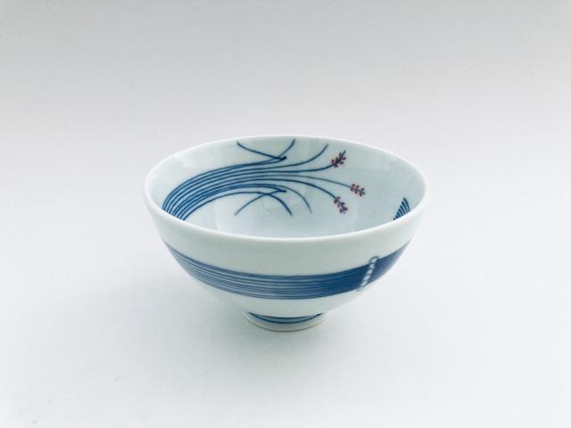 (朱)稲穂3.5寸丸飯碗 しん窯青花匠