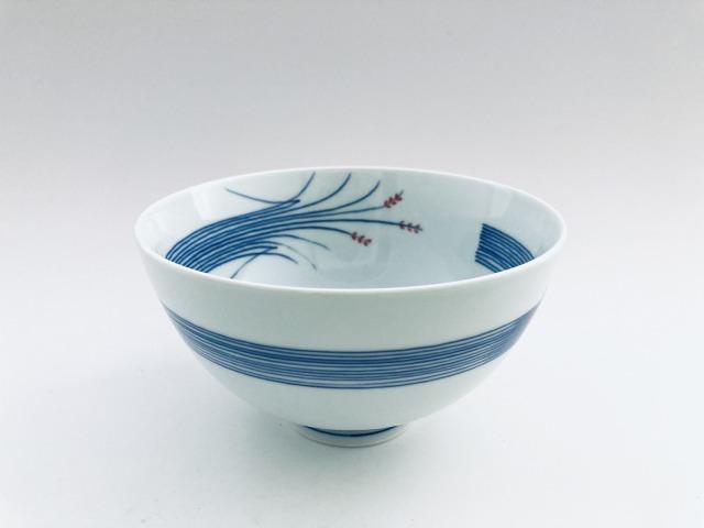 (朱)稲穂3.8寸丸飯碗 しん窯青花匠