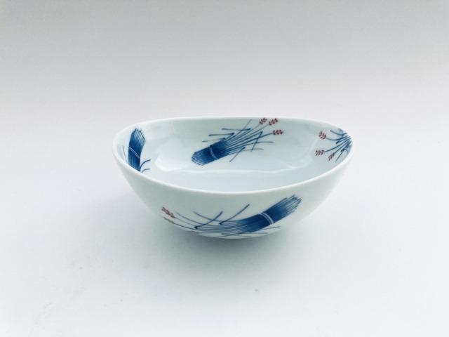 (朱)稲穂 楕円取鉢 しん窯青花匠