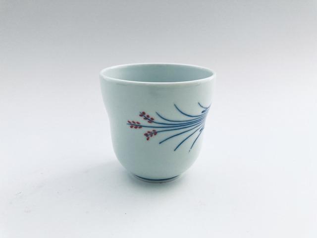 (朱)稲穂 瓢型湯呑 しん窯青花匠