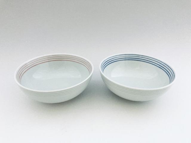 (朱・青)渕千段4寸ボール セット しん窯青花
