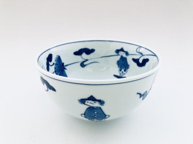 牡丹帆船玉渕4.5寸丼 しん窯 青花
