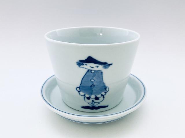 濃マント異人フラワーポット しん窯青花(底穴有)