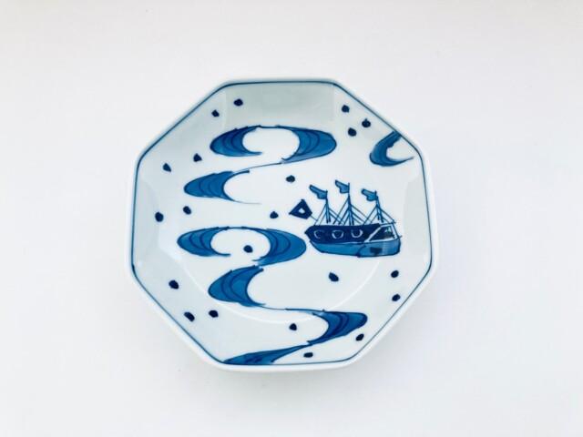 大航海 正八角5寸皿 しん窯青花