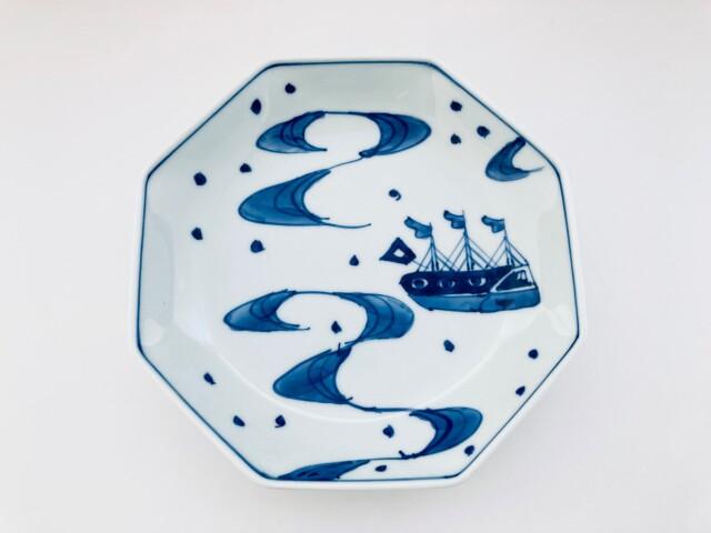 大航海 正八角6寸皿 しん窯青花