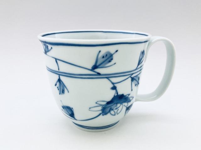 花唐草フリーマグカップ(大)しん窯青花