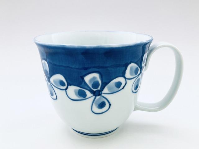 花つなぎフリーマグカップ(大)しん窯青花