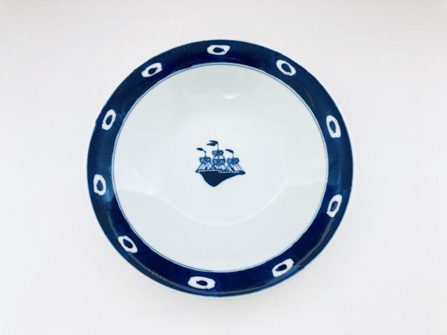 渕濃帆船反7寸スープ皿 しん窯 青花