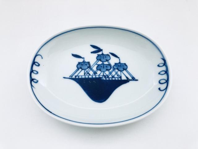 帆船小判小皿 しん窯青花