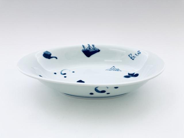 異人づくし たまご型カレー皿 しん窯 青花