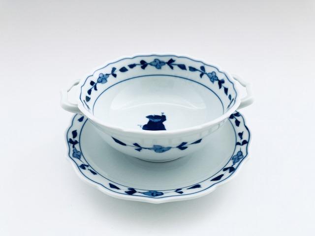 カール紅毛人耳付スープ碗皿 しん窯 青花