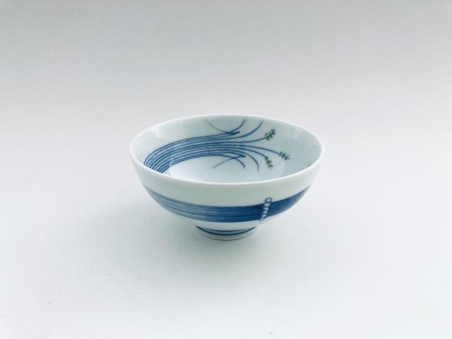 (緑)稲穂3.2寸丸飯碗 しん窯青花匠