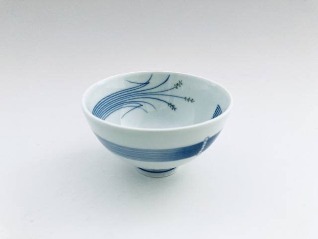 (緑)稲穂3.5寸丸飯碗 しん窯青花匠