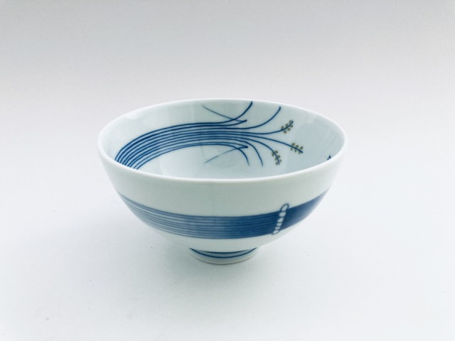 (緑)稲穂3.8寸丸飯碗 しん窯青花匠