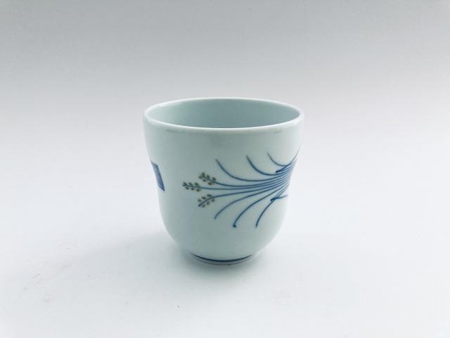(緑)稲穂 瓢型湯呑 しん窯青花匠