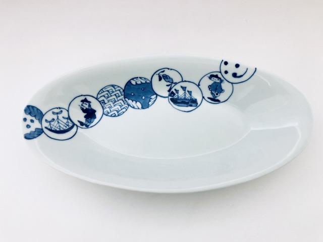 丸紋つなぎ小判カレー皿(中)しん窯青花