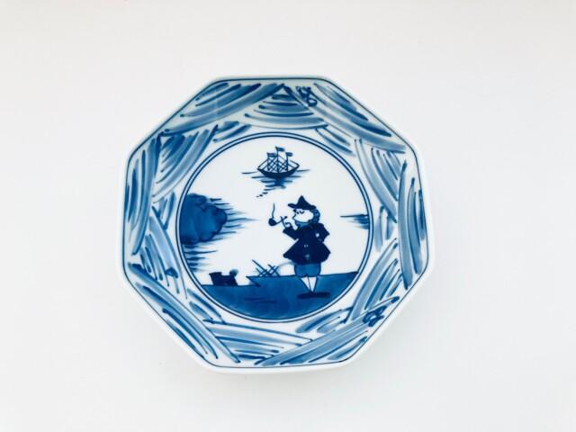 長崎紋 正八角5寸皿 しん窯青花