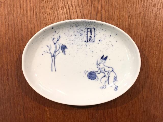 GIGAバスケット 小判銘々皿 しん窯 青花