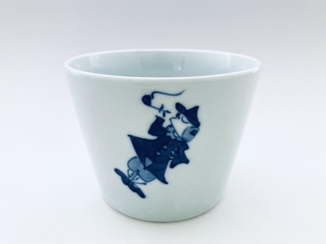 パイプ異人フラワーポット しん窯青花(底穴無)