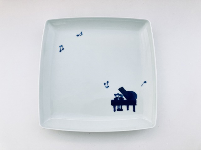 音符とピアノ スクエアプレートL しん窯青花
