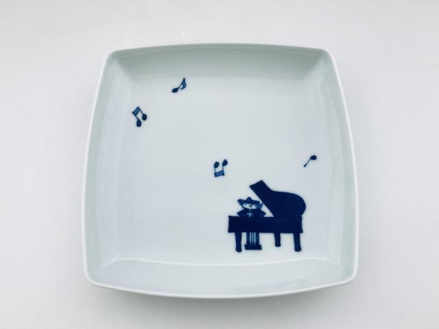 音符とピアノ スクエアプレートM しん窯青花