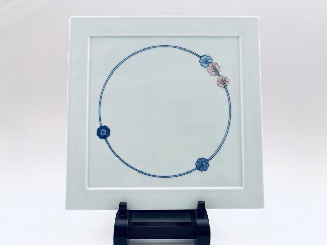 染錦花飾りスクエアプレート青花匠限定商品
