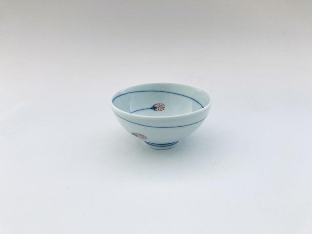 つるいちご3.2寸丸飯碗 しん窯青花匠
